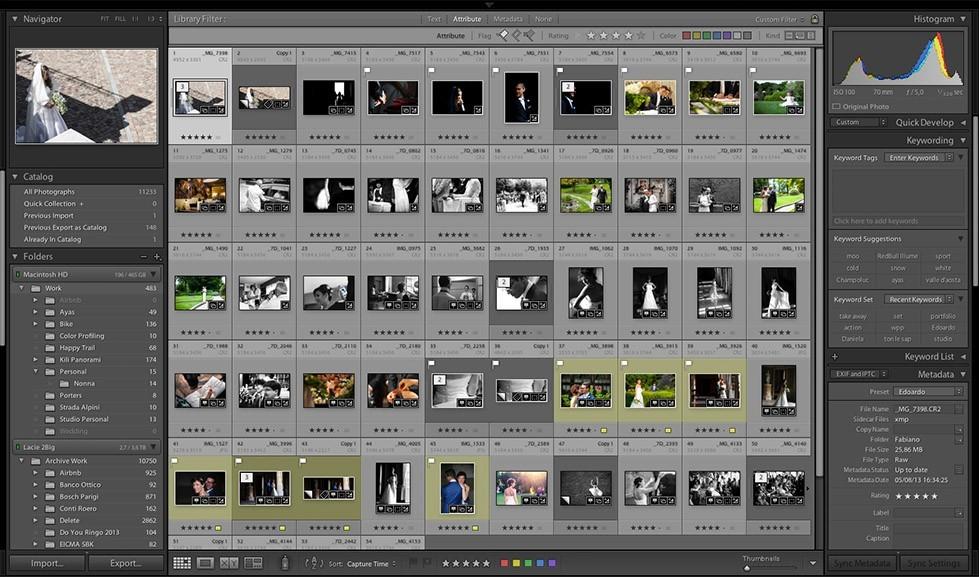 Workflow selezione foto matrimonio